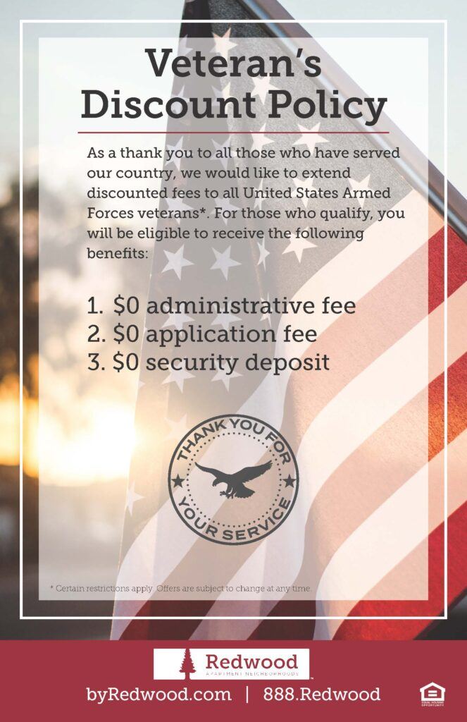 Redwood Living, Inc.'s veteran discount policy graphic - $0 deposit, $0 admin fee, $0 application fee
