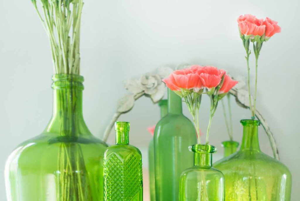 Repurpose vases and bottles to add to your home decor.