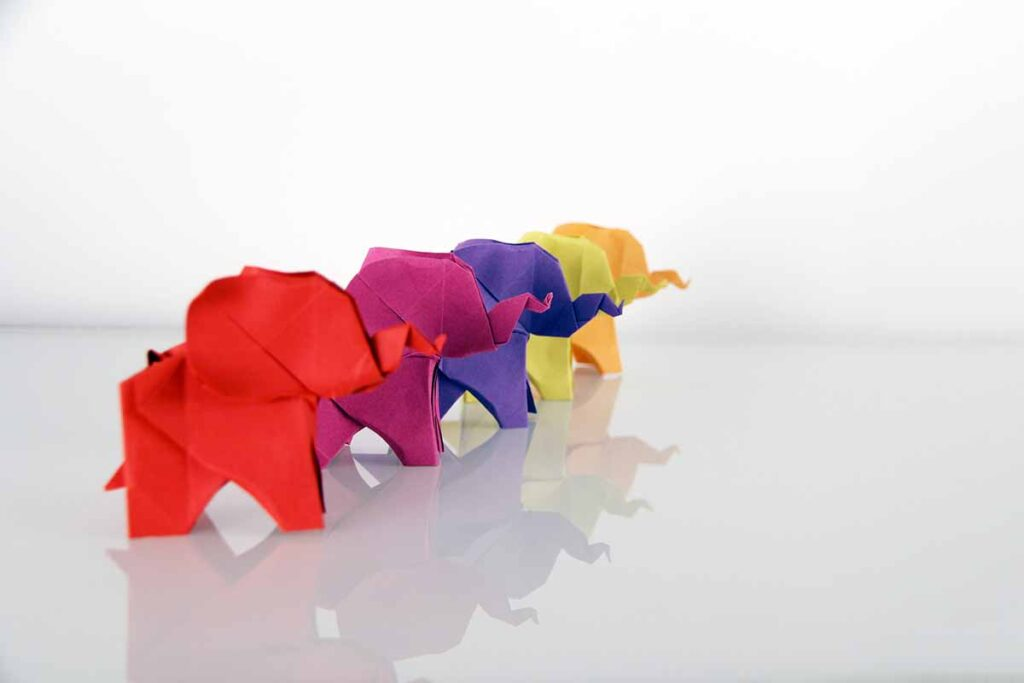 origami folded paper laterns