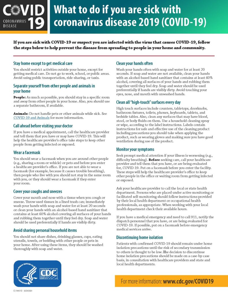 What to do if sick with coronavirus CDC