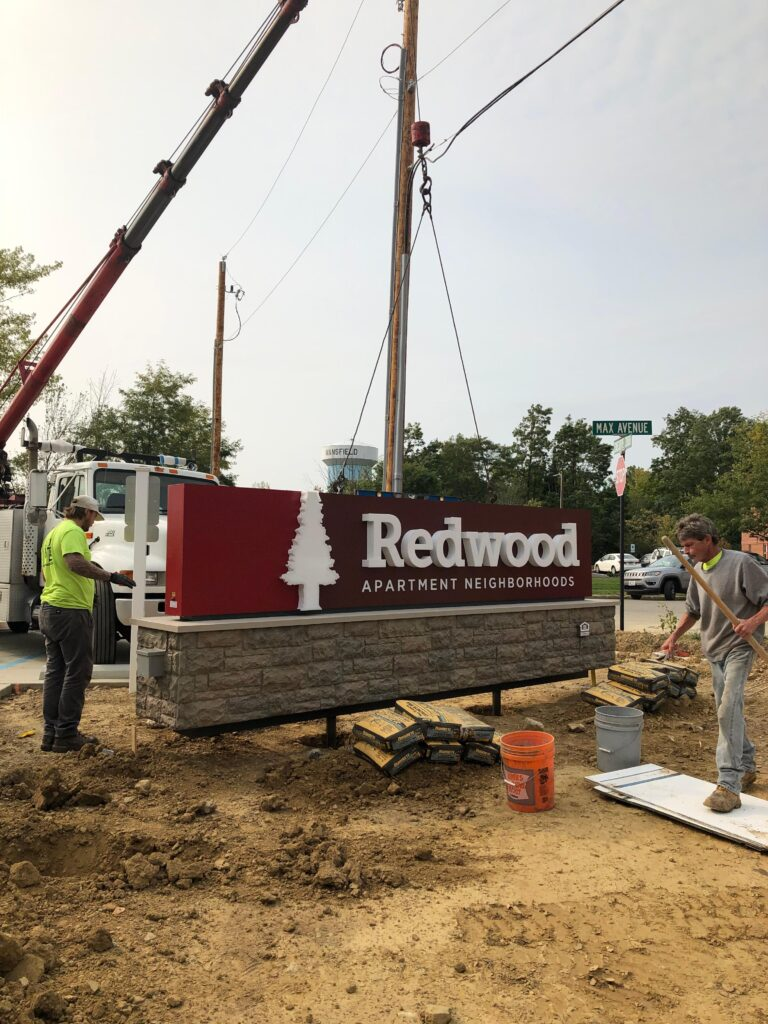 sign install at Redwood mansfield in mansfield, ohio